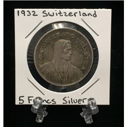 1932-B Switzerland 5 Francs - William Tell Silver Coin KM#40 Type I