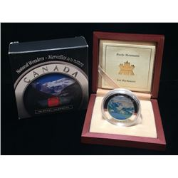 2003 Canada $20 Rocky Mountains: Natural Wonders Coloured Proof Silver Coin