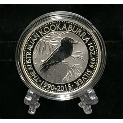 2015 Australia 1oz Kookaburra 25th Anniversary $1 Silver BU Coin