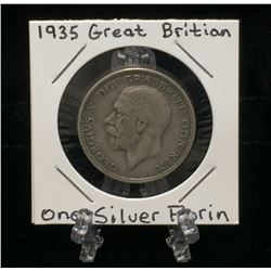 1935 UK Great Britain 1 Silver Florin Cross of Crowned Shields
