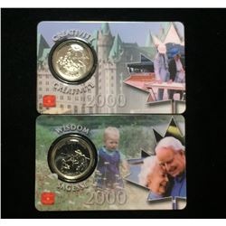 Lot of 2x 2000 Canada 25-Cents Millennium - Creativity, Wisdom Coins Assay Window Card