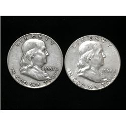 1957-D & 1962 US Silver Franklin Half Dollars