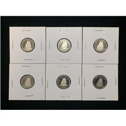 Lot of 6x 1982-1989 Canada 10-Cents Proof Coins