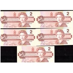 Lot of 5x 1986 Canada $2 Sequence Notes UNC