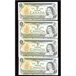 Lot of 4x 1973 Canada $1 Sequence Notes UNC