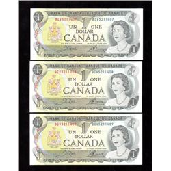 Lot of 3x 1973 Canada $1 Sequence Notes EF-UNC