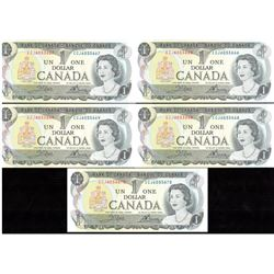Lot of 5x 1973 Canada $1 Sequence Notes UNC