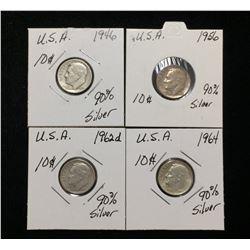 1946, 1956, 1962D, 1964 US 10-Cents Silver Rosevelt Dimes
