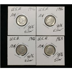 Lot of 4x 1946, 1956, 1963 US 10-Cents Silver Rosevelt Dimes