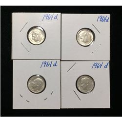 Lot of 4x 1964D US 10-Cents Silver Rosevelt Dimes