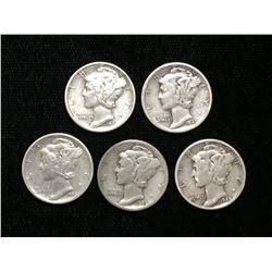 Lot of 5x 1942-1945 US 10-Cents Silver Mercury Dimes