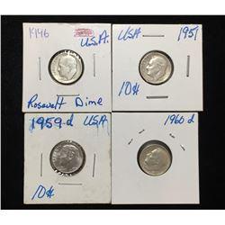 Lot of 4x 1946, 1951, 1959D, 1960D US 10-Cents Silver Rosevelt Dimes