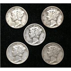 Lot of 5x 1941-1945 US 10-Cents Silver Mercury Dimes