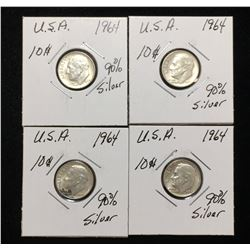 Lot of 4x 1964 US 10-Cents Silver Rosevelt Dimes