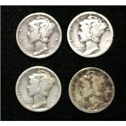 Lot of 4x 1928, 1929, 1935, 1936 US 10-Cents Silver Mercury Dimes