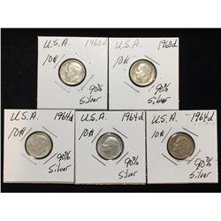 Lot of 5x 1962D, 1963D, 1964D US 10-Cents Silver Rosevelt Dimes