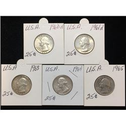 Lot of 5x 1960D, 1961D, 1963, 1964, 1965 US 25-Cents Silver Washington Quarters
