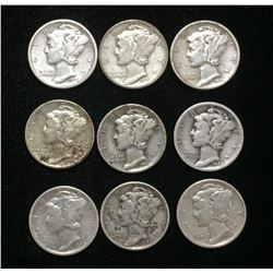 Lot of 9x 1940-1945 US 10-Cents Silver Mercury Dimes