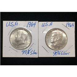 Lot of 2x 1964 US 50-Cents Silver Kennedy Half Dollars