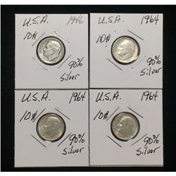 Lot of 4x US 10-Cents Silver Rosevelt Dimes