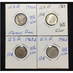 Lot of 4x US 10-Cents Silver Mercury, Rosevelt Dimes