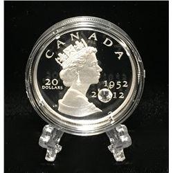 2012 Canada $20 Queen's Diamond Jubilee Swarovski Element Proof Silver Coin