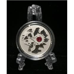 2013 Canada $3 Hummingbird with Morning Glory Swarvoski Element Reverse Proof Silver Coin