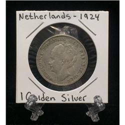 1924 Netherlands 1 Gulden Silver Coin