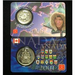 Lot of 2x Canada 2000 Millenium 25c Community & 2001 50c Assay Window Card