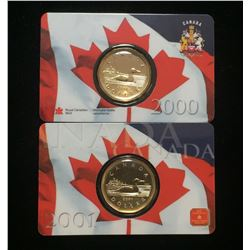 Lot of 2x 2000 & 2001 Canada $1 Loon Dollar Assay Window Card