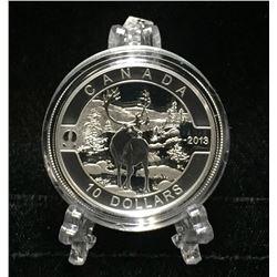 2013 Canada $10 Caribou: O Canada Specimen Silver Coin