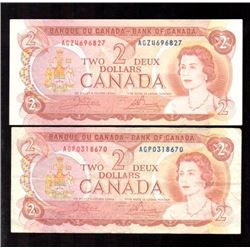 Lot of 2x 1974 Canada $2 Banknotes