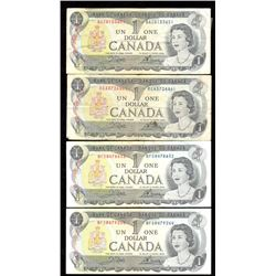 Lot of 4x 1973 Canada $1 Banknotes