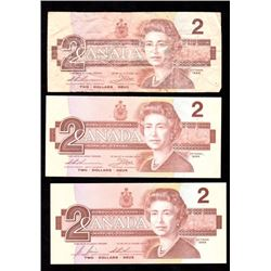 Lot of 3x 1986 Canada $2 Banknotes