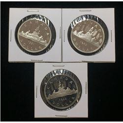 Lot of 3x 1981, 1982 & 1984 Canada $1 Proof Dollars UNC
