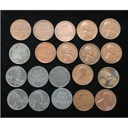 Lot of US 1-Cents Copper & Steel Lincoln Pennies