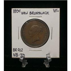 1854 New Brunswick Half Penny Currency Token BR 912 NB-1B (VF)