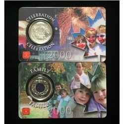 Lot of 2x 2000 Canada 25-Cents Millennium - Celebration, Family Coins Assay Window Card