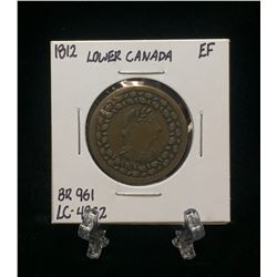 1812 Lower Canada One Penny Token BR 961 LC-48C2 (EF)