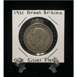 1921 UK Great Britain One Florin Silver Coin