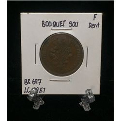 Bouquet Sou Montreal Pre-Confederation Token BR 697 LC-29E1, Dent (F)