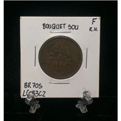 Bouquet Sou Montreal Pre-Confederation Token BR 705 LC-33C2 Rim Nic (F)