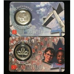 Lot of 2x 2000 Canada 25-Cents Millennium - Achievement, Harmony Coins Assay Window Card
