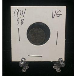 1901 Canda 5-Cents Silver Coin (VG)