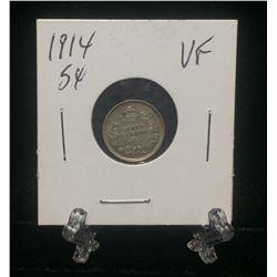 1914 Canada 5-Cents Silver Coin (VF)