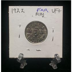 1922 Canada 5-Cents Far Rim Nickel (VF)