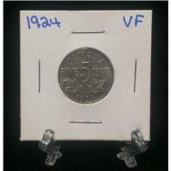 1924 Canada 5-Cents Nickel (VF)