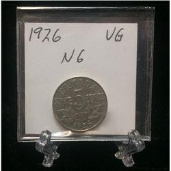1926 Canada 5-Cents Near '6' Nickel (VG)