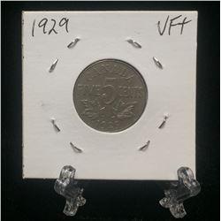 1929 Canada 5-Cents Nickel (VF)
