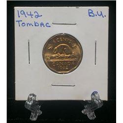 1942 Canada 5-Cents Tombac BU Nickel
